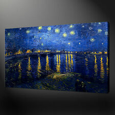 """STARRY NIGHT OVER THE RHONE VAN GOGH  20""""x16"""" CANVAS WALL ART PICTURES PRINTS"""