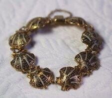 EXQUISITE Vintage Damascene Seashell Link Bracelet