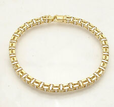 "8.5"" Mens Italian Square Railroad Bracelet Real 14K Yellow White Two-Tone Gold"
