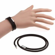 Korean Style Bangle Black Leather Chain Stainless Steel Buckle Bracelet