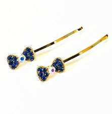 USA Bobby Pin Rhinestone Crystal Hair Clip Hairpin Wedding Bow knot BLUE NEW 1