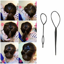 Ponytail Creator Plastic Loop Styling Tools Black Topsy Pony Tail Hair Braid~FG
