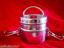 Stainless Steel Lunch Box Food Tiffin Container 2 Tier Carrier Set