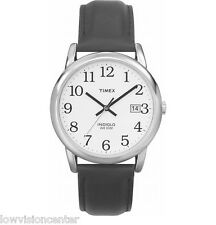 Timex Indiglo Watch with Date Chrome with Leather Band Low Vision Easy to See