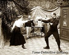 Man and Woman Fencing - 1915 - Historic Photo Print