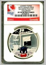 2015 Canada 1 oz. Colorized Silver Looney Tunes SYLVESTER NGC PF 70 UC WITH COA