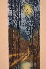 Eau forte originale encadrée début XXe Portalès paysage moulin clair de lune