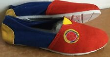 Colombian Shoes Flag Flats Proud Soccer Futbol Women Sz (38) Yellow Blue Re