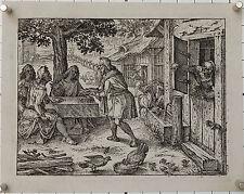 Christoph Murer: Hospitalitas. Emblem um 1600. Ein Bauer bewirtet drei Gäste