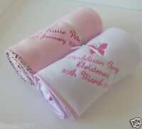 Personalised Embroidered Baby Girls Fleece Blanket, Christening or Newborn Gift