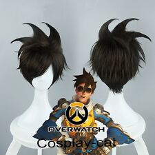 Game Overwatch Fashionable Tracer Cosplay Adjustable Wig 28 cm