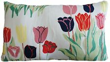 Josef Frank Fabric Cushion Cover Tulips Printed White Linen Rectangular 20x12""