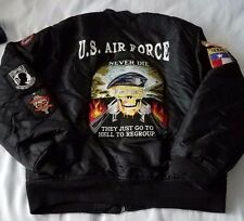 Authentic Vintage US Air Force Bomber Jacket With Patches One of a kind Size XL