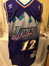 John Stockton 12 Utah Jazz Vtg Adidas Hardwood Classics Jersey NWT Purple Medium