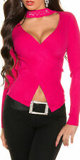 SeXy V Pullover Pulli Wickel Look Stehkragen Straß 34/36/38 Freesize TOP pink