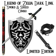Legend of Zelda Dark Link Hylian Belt, Shield & Sword COMBO (UA-2701BK/3SET)