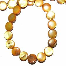 MP2024L Golden Brown Mother of Pearl 10mm Flat Round Gemstone Shell Beads 16""