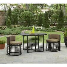 Outdoor Patio 3pc Bistro Set Garden Table and Chair Cushioned Seat Cafe Table