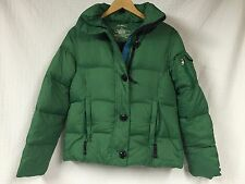 Women's LL BEAN Green Fuzzy Faux Fur Hooded Parka DOWN Puffer hood SMALL