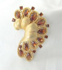 Vintage Trifari Fur Clip/Pin Brooch Rare Crown Trifari Gold Rhinestone Fur Clip