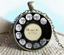 Handmade Vintage phone Cabochon Photo Glass Chain Pendant Necklace