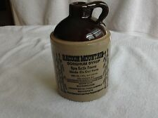 Vintage Stoneware Crock Jug Racoon Mountain Sorghum Syrup 1 Pint Great Graphics