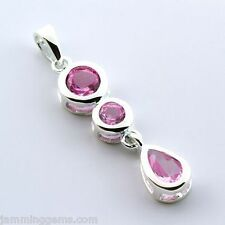 CLEARANCE Sterling Lab Created Pink Sapphire Three Stone Dangle Pendant