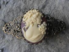 VICTORIAN WOMAN PORTRAIT CAMEO BRONZE FILIGREE BARRETTE - VICTORIAN LOOK, CRM,