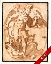 ST MICHAEL ARCHANGEL SLAYING SATAN LUCIFER PAINTING BIBLE ART REAL CANVAS PRINT