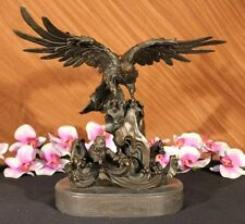 Handcrafted Signed Large American Eagle Wild Life Bronze Sculpture San Diego