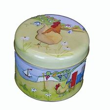 Emma Ball Glamping Camping Scene Short Round Caddy Lidded Storage Tin