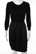 Sundance Black Wool Long Sleeve Ribbed Knit Trim Knee Length Dress Size Medium