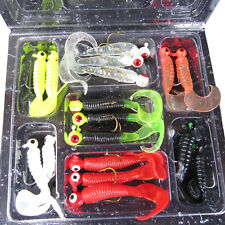 17pcs Fishing Lure Lead Jig Head Hook Grub Worm Tackle Soft Baits Shads Silicone