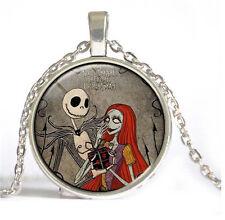 New skull Cabochon Tibetan silver Glass Chain Pendant Necklace #/3
