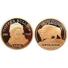 1 Oz 999 cobre medalla copper moneda indios Buffalo búfalos New rara vez EE. UU.