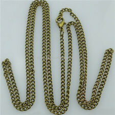 5PC 24 Inch Chain Bronze Plated Flat Curb Link 2mm Chain Necklace Making