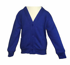 Boys Girls Kids Children School Uniform Plain Line Button Cardigan Jumper V Neck