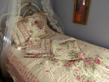 Shabby Cabbage Rose, Five Piece, Quilt Bedspread, Three Shams, Shower Curtain