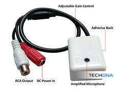 Stick-on High Gain Voice Audio Microphone with RCA Output for CCTV Camera DVR
