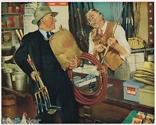 VINTAGE CALENDAR PRINT 1940 ORIGINAL FISHING HUNTING SIMILAR TO NORMAN ROCKWELL