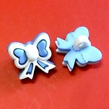 20 Bow Tie Novelty Baby Enfant Girl Kid Scrapbooking Sewing Buttons Blue K733