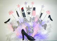 Personnalisé nom, âge de maquillage, sacs, chaussures birthday cake topper avec plumes