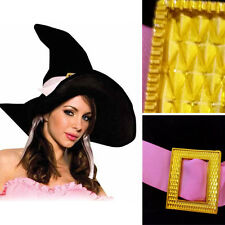 Large Adult Gothic OZ Witch Costume Hat Bendable Wire w/ Pink Ribbon & Buckle OS