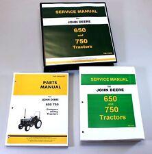 SET JOHN DEERE 650 750 TRACTOR SERVICE PARTS MANUALS TECHNICAL REPAIR CATALOG
