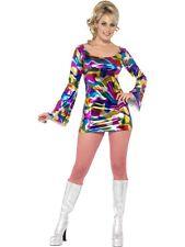 Disco Lady Mujer Traje De Carnaval Disfraz Años 60 Década los 70 nuevo