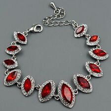Hot Rhodium Plated Red Ruby Crystal Rhinestone Bracelet 08730 Fashion Jewelry