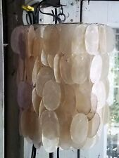 Vintage Capiz Shell  Chandelier Swag Lamp Hanging Pendent Lighting Fixture Rare