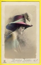 cpa Fantaisie BONNE ANNÉE 1910 FEMME au CHAPEAU Graffiti Fantasy Woman Hat