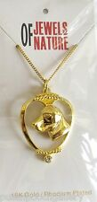 Labrador Dog Pendant-Necklace, Gold Plated with Crystal -18 inch Chain
