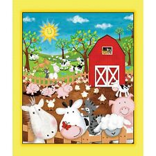 Animal Farm Panel cotton quilt fabric Quilting Treasures Cow Horse Pig Chicken